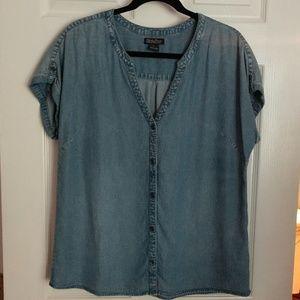 Lucky Brand denim tencil blouse, Large